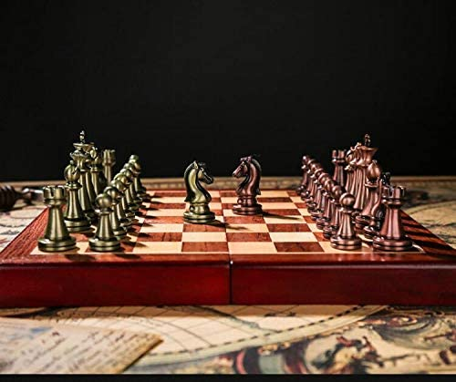 Metal Chessmen with Wooden Board