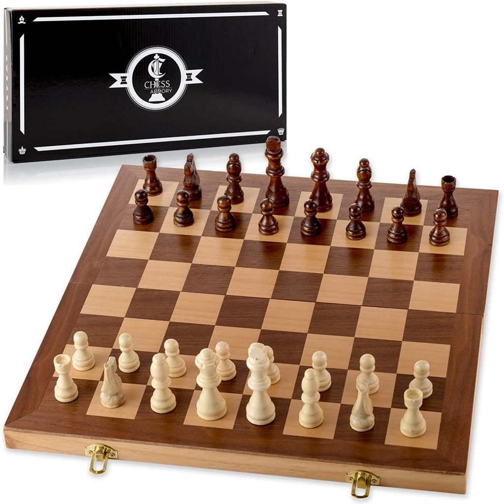 "Chess Armory 15"" Wooden Chess Set with Felted Game Board"