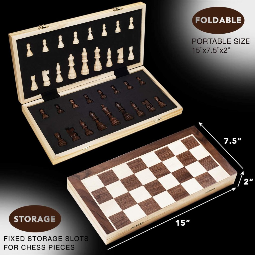 Amerous 15 Inches Magnetic Wooden Chess Set - 2 Extra Queens - Folding Board