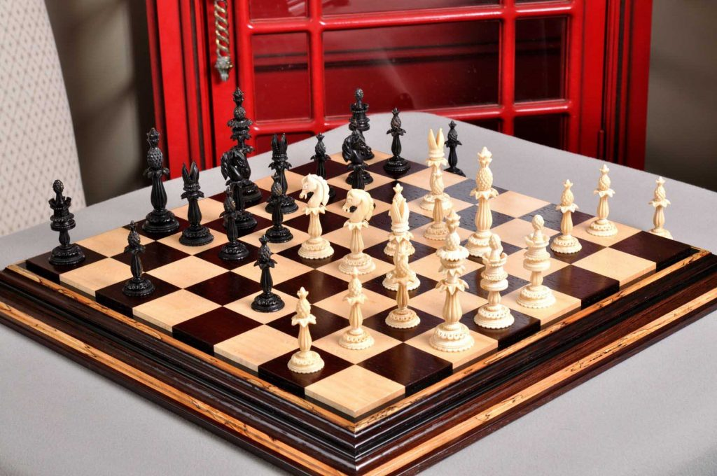 The Lund Anglo-Indian Reproduction Luxury Bone Chess Pieces