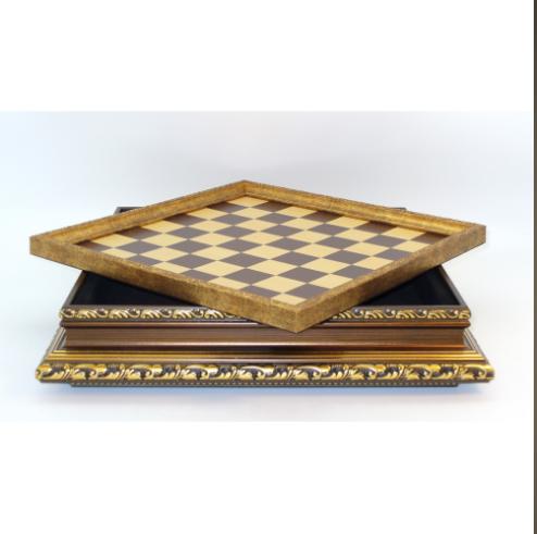 "17"" Golden Wood Storage Chess Board"