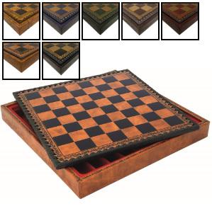 "18"" Italian Leatherette Storage Chess Board"