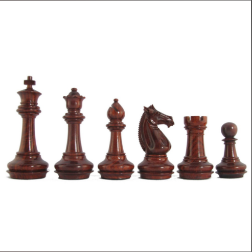 "4"" MoW Crimson Rosewood Phalanx Signature Staunton Chess Pieces"