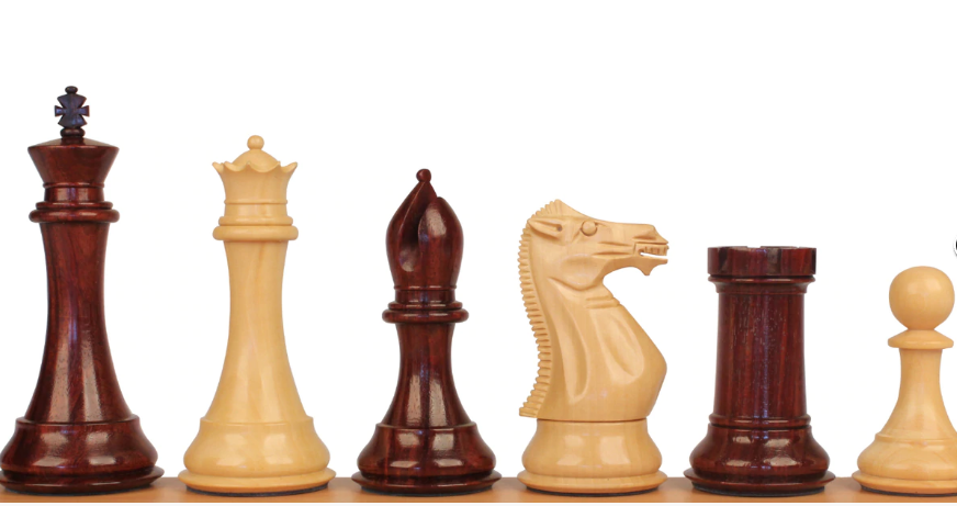 Staunton Chess Set with Red Sandalwood & Boxwood Pieces