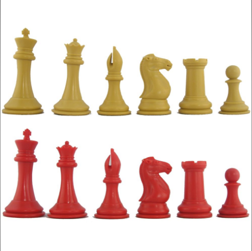 Red and Camel Elite Tournament Chess Pieces