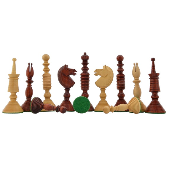 Reproduced Antique Circa 1800 Series Handcarved Chess Pieces