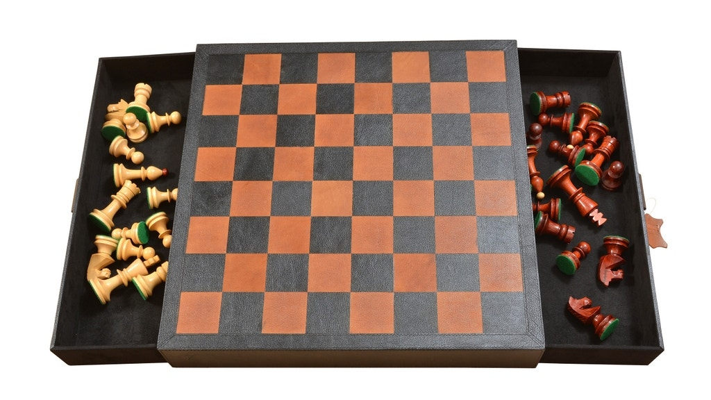 Leather Chess Storage Board